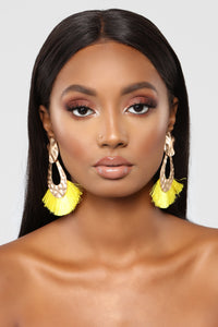 Tassel Around Earrings - Yellow
