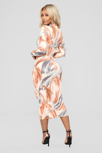 Work Of Art Midi Dress - Nude
