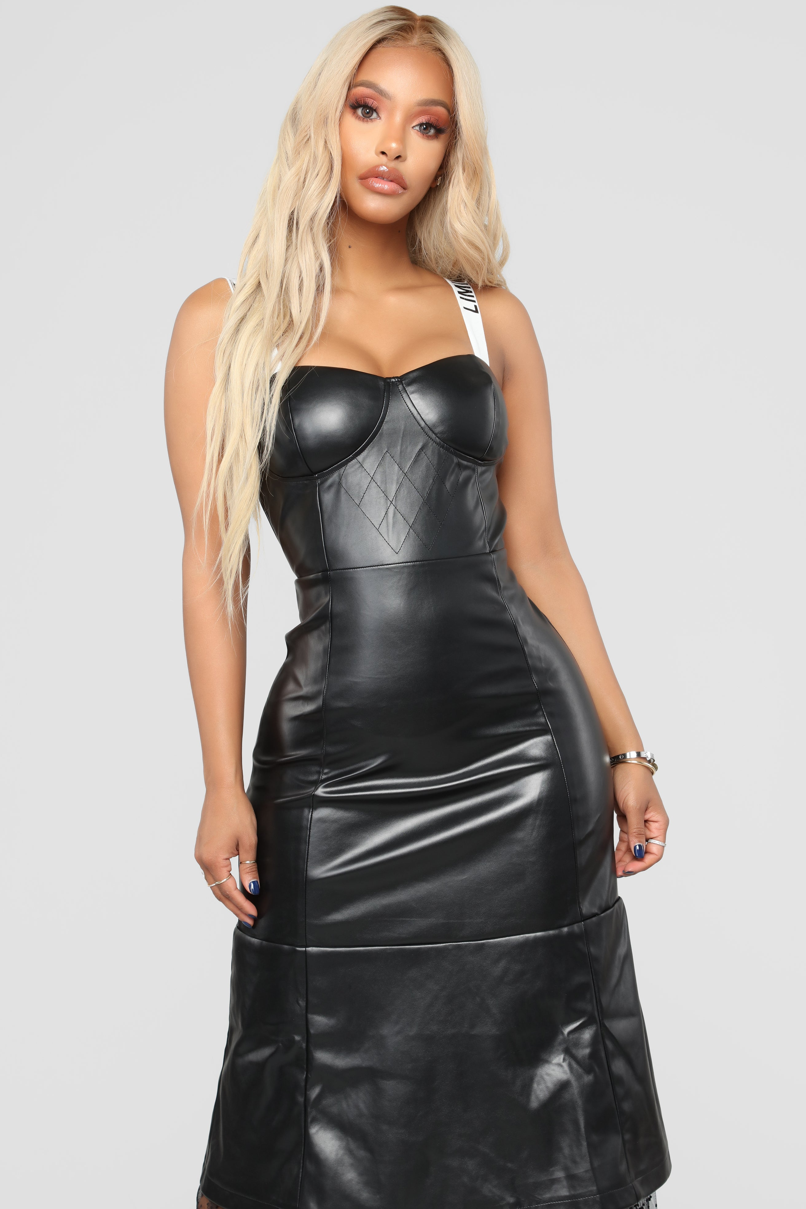 cd15334df63ad J adore Faux Leather Maxi Dress - Black