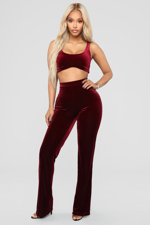 Walking On Cloud 9 Velvet Set - Burgundy