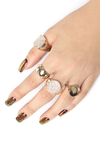 Knuckle Bling Ring Set - Gold