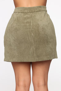 According To You Mini Skirt - Olive