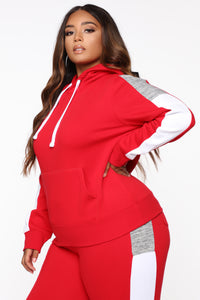 Analissa Pullover Hoodie - Red Angle 8