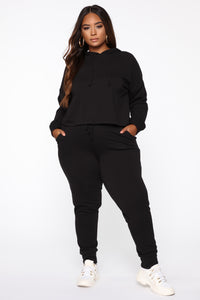 Latest And Greatest French Terry Crop Hoodie - Black Angle 8