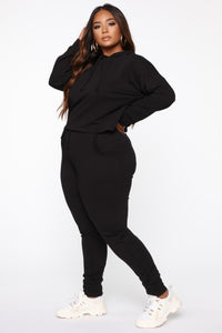 Latest And Greatest French Terry Crop Hoodie - Black Angle 10