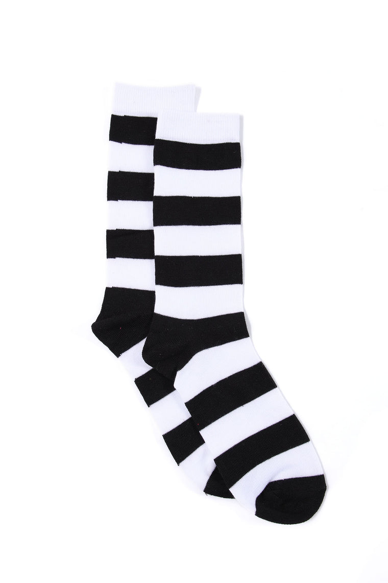 Striped Up Crew Socks - Black/White