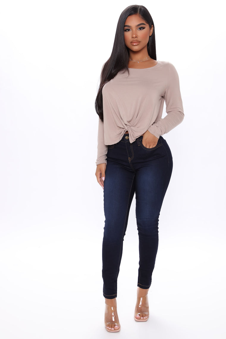 Knot Bothered Long Sleeve Top - Taupe