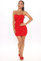 My Single Version Ruched Mini Dress - Red