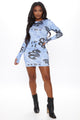 Snake Fever Printed Mini Dress - Blue