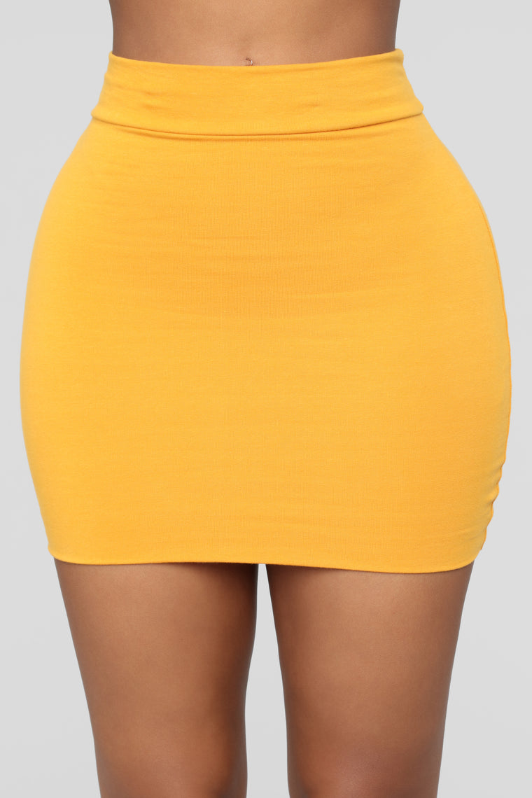 Melanie Mini Skirt - Mustard