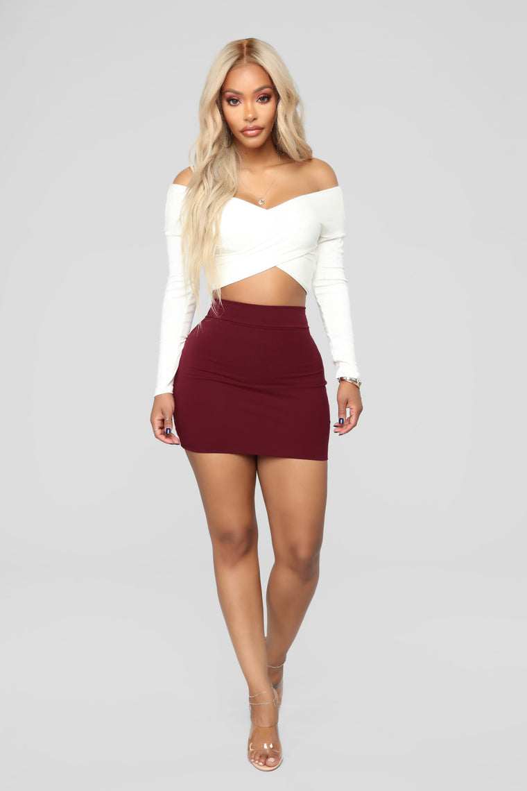 Melanie Mini Skirt - Wine