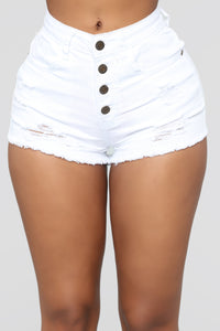 Pure Love Distressed Shorts - White
