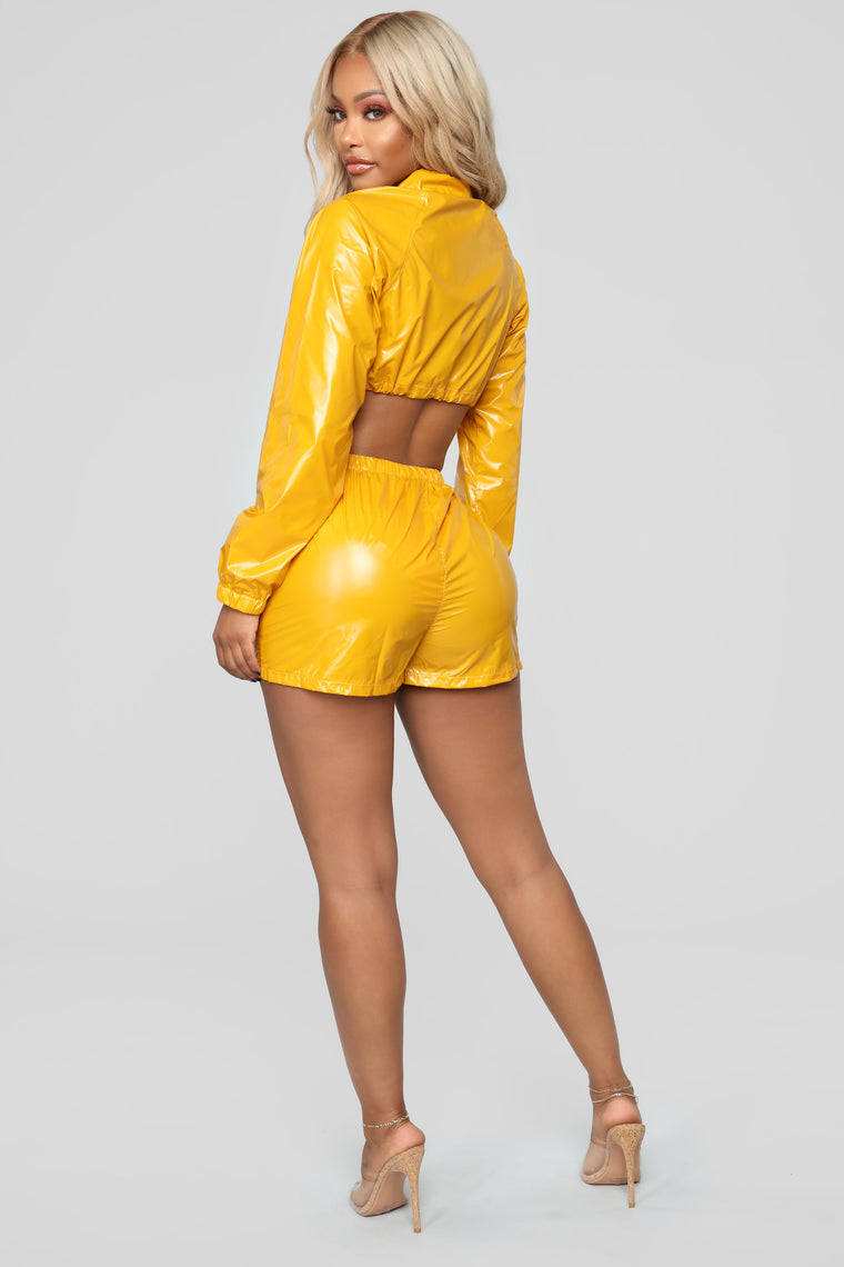 Nylon Dreams Lounge Set - Mustard