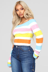 Because I'm Happy Fuzzy Sweater - MultiColor