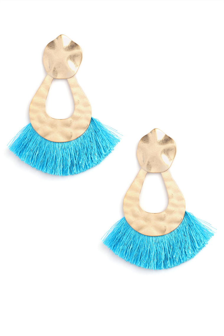 Tassel Around Earrings - Turquoise