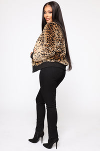 Caught Your Attention Leopard Print Bomber - Leopard