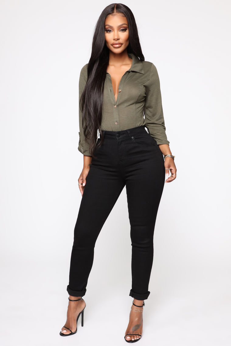 No Room For You Button Down Top - Olive