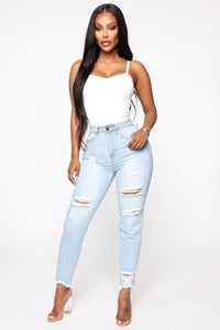 Gotta Go Distressed Mom Jeans - Light Blue Wash Angle 2