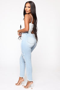 Gotta Go Distressed Mom Jeans - Light Blue Wash Angle 4