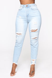 Gotta Go Distressed Mom Jeans - Light Blue Wash Angle 1