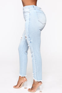 Gotta Go Distressed Mom Jeans - Light Blue Wash Angle 3