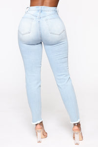 Gotta Go Distressed Mom Jeans - Light Blue Wash Angle 5