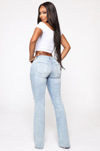 Just Living It Up Flare Jeans - Light Blue Wash