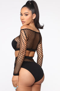 Old Jamz Fishnet 2 Piece Dance Set - Black Angle 3