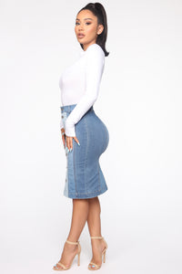Double Dare Denim Skirt - Medium Blue Wash