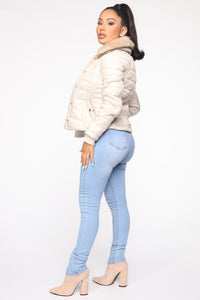 You're Feeling Warmer Puffer Jacket - Nude Angle 4