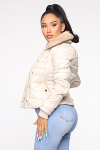 You're Feeling Warmer Puffer Jacket - Nude Angle 3