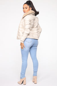 You're Feeling Warmer Puffer Jacket - Nude Angle 5