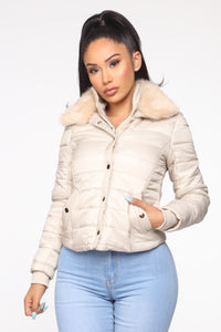 You're Feeling Warmer Puffer Jacket - Nude Angle 1