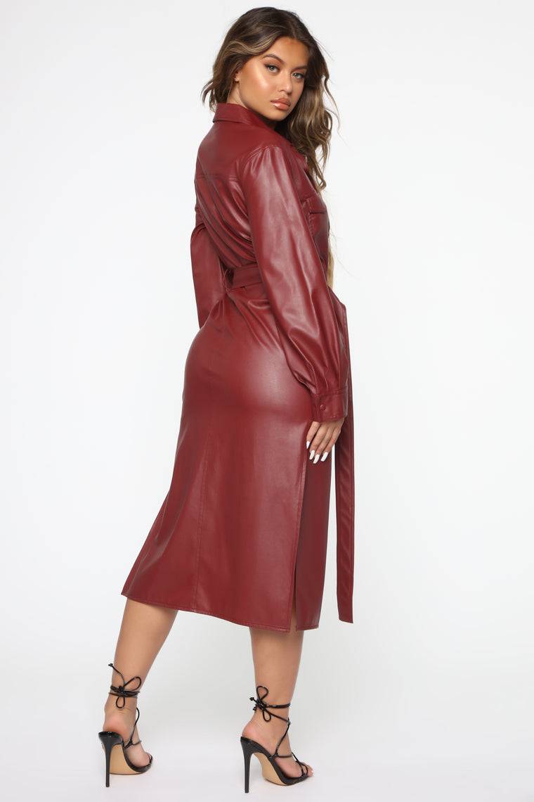 On My Side Midi Dress - Burgundy