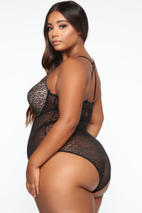 Enamored With You Lace Teddy - Black