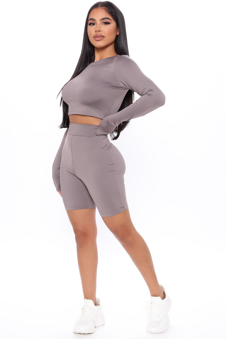 Don't Compare Active Biker Short Set - Grey