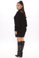 Knit's My Choice Cut Out Dress - Black