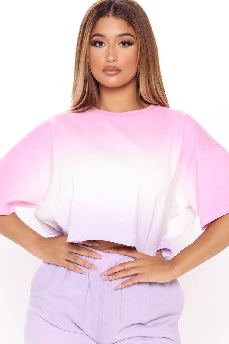 Out Here For Fun Jogger And Crop Tee Set - Pink/combo