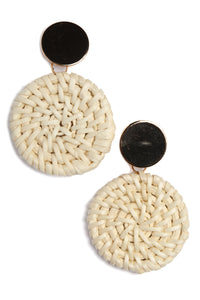 Wooden You Like To Know Earrings - Beige