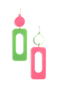 Rolling Down The Block Earrings - Pink/Green Angle 2