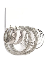 Hoop There It Is Earrings Set - Silver