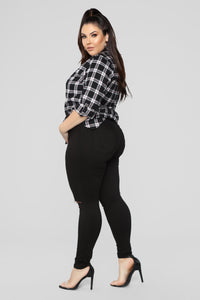Lounge Affair Black Flannel Top - Black/combo