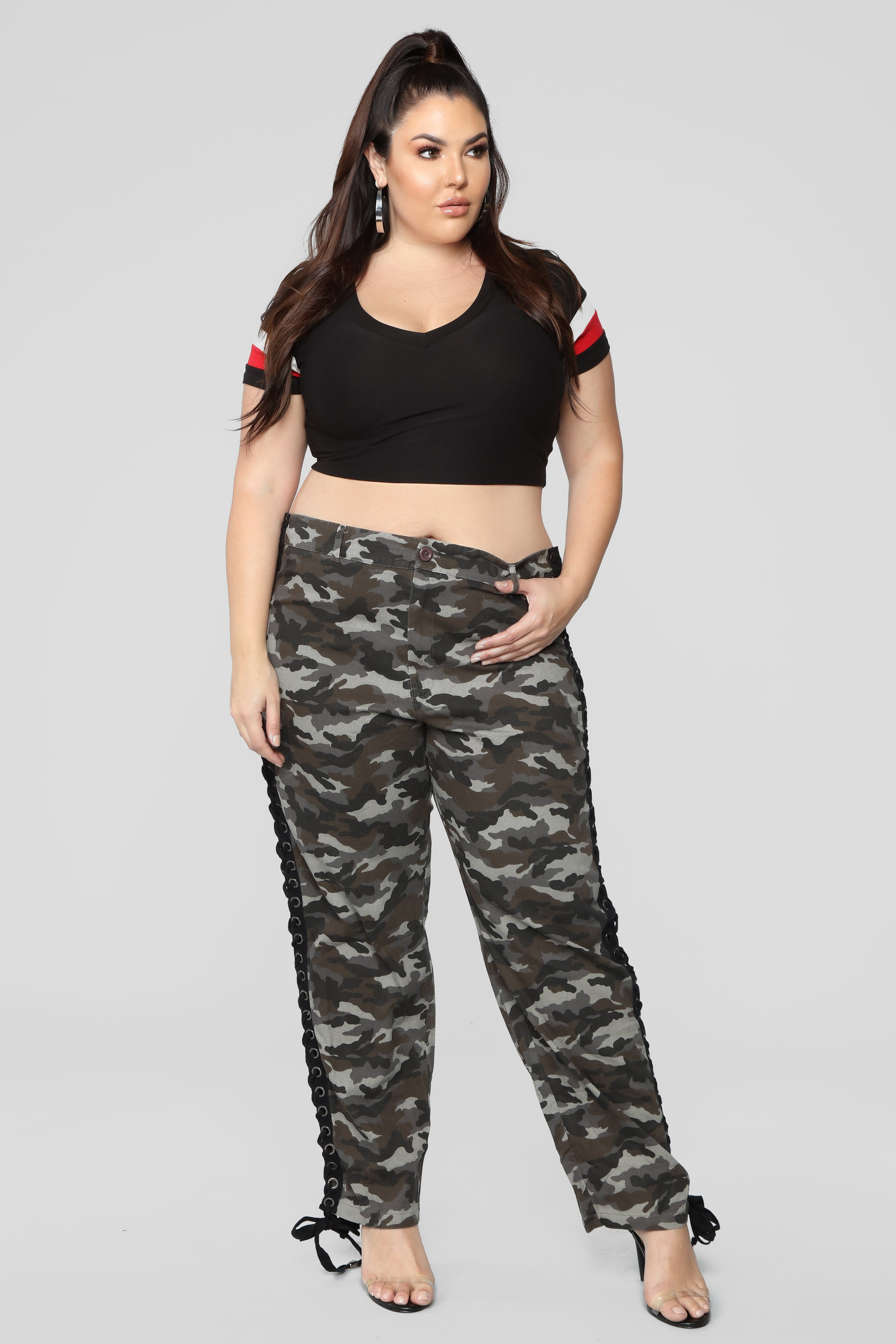 b36a27c8fc1 Lace Up The Camo Cargo Pants - Grey