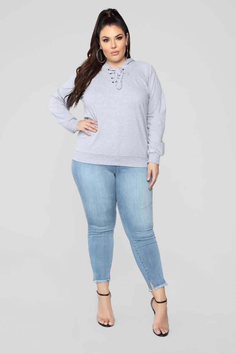 Sienna Pullover Lace Up Hoodie - Grey