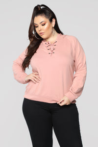 Sienna Pullover Lace Up Hoodie - Mauve