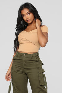 Grab Hold Of Me Off Shoulder Top - Mustard