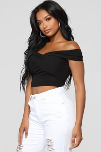 Grab Hold Of Me Off Shoulder Top - Black