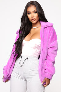 Places To Be Faux Fur Jacket - Purple Angle 1