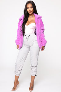 Places To Be Faux Fur Jacket - Purple Angle 2