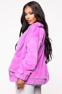 Places To Be Faux Fur Jacket - Purple Angle 3